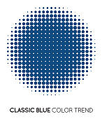 Classic Blue Trendy Color Circle in Halftone, Halftone Dot Pattern, Vector Illustration.