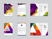 Big Set of Visual identity with letter elements polygonal style Letterhead and mesh smooth design style brochure cover template mockups for business with Fictitious names