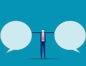 Stop speech bubble. Business communication. Flat cartoon vector illustration style