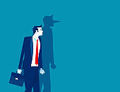 Businessman of shadow of his long nose. Lying people concept. Flat cartoon vector illustration style