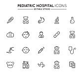 Outline icons set. Pediatric hospital clinic and medical care. Editable stroke. Vector.
