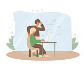 Mature women and her son at the computer. Vector color illustration.