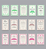 Big Set of Great Quality Style Invitation in Art Deco or Nouveau Epoch 1920's Gangster Era Collection Vector