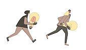 Vectror thieves run with creaive new idea symbol.