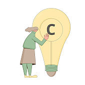 Intellectual property rights. Vectror character with creaive new idea symbol. Plagiarism and infringement of copyright