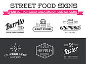 Set of Vector Street Food Fastfood Signs with Icons can be used as Logo or Icon in premium quality
