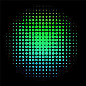 Colorful Rainbow Circle in Halftone, Halftone Dot Pattern, Vector Illustration.