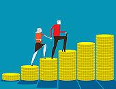 Senior money steps. Elder saving money concept, Flat cartoon vector design