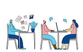 People siting at the desk. Vector design.