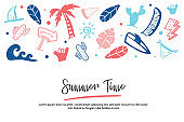 Summer doodle banner , hand drawn beach promotion. Traveling sketch