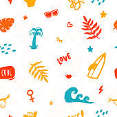 Summer ocean doodle seamless pattern with palm, waves, surf board, fashion travel print for t-shirt, colorful background
