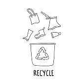 Recycle clothes sign. Vector eco friendly emblem.