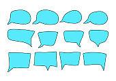 Speech bubbles hand drawn set. Vector illustration
