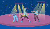 Music band performs on a stage. Vector design.