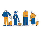 Group of old people isolated. Vector illustration.