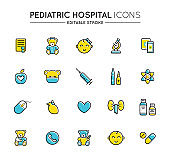 Outline colorful icons set. Pediatric hospital clinic and medical care. Editable stroke. Vector.
