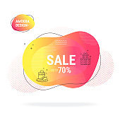 Modern summer sale poster, abstract fluid shapes background. Fantasy neon colored flat illustration clip art isolated on background.