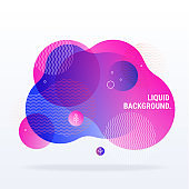 Abstract fluid shapes composition. Fantasy neon colored flat illustration clip art isolated on background.