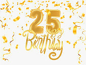 25th anniversary happy birthday party gold balloons celebration background template