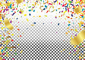 balloon party background with colorful streamers for celebrating a carnival forming a border around copy space with scattered confetti