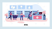 Consumers wait in a line to grocery store cashier. Retail business concept. Shopping, sale, shop interior. Vector web site design template. Landing page website illustration