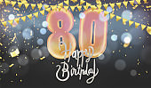 Number 80th anniversary birthday balloon isolated on background party celebration