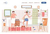 Family couple do morning hygiene routine together in bathroom. Man shaving, girl scrubbing skin. Concept illustration. Vector web site design template. Landing page website
