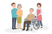 An old man in a wheelchair, female doctor and female caregiver and family.