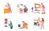 Man and woman characters clean home and do household work. Vector illustration set of people cleaning house, dusting, washing clothes. Housework, laundry, washing machine