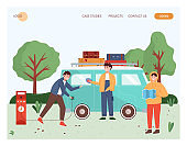 People travel by electric car. Man charging electric van. Outdoor travel concept illustration. Vector web site design template. Landing page website illustration.
