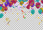 Colorful Balloons with use to present section label Discounts SALE and celebration party banner