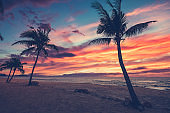 Sundown beach scene for travel inspirational