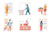 Vector set of people in supermarket store. Woman and man characters buy grocery. Isolated illustration. Woman takes cosmetics from shelves. Checkout counter, cashier