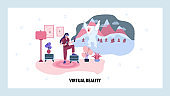 Virtual relity game. VR goggles and videogame console. Augmented reality technology. Vector web site design template. Landing page website concept illustration