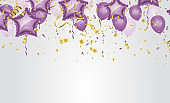 Party Purple Balloons Background for your Text. Vector Illustration. Festive background with balloons. Celebrate a birthday, Poster, banner happy