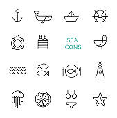 Vector set of sea icons.