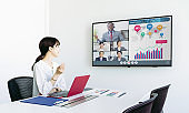 Video conference concept. Teleconference.  Webinar. Online seminar. e-Learning.