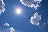 Blue sky with white clouds and sun  rays. Summer spring heaven concept. Background for textures backgrounds and web banners design