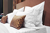 Hotel service concept. luxury modern style bedroom, Interior of a hotel bedroom