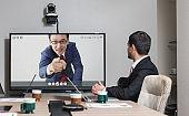 Video conference concept. Teleconference.  Webinar. Online seminar. e-Learning.