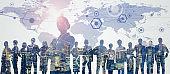 Global communication network concept. Leadership of business. Teamwork. Management strategy.