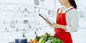 Cooking and technology concept. Dietitian. Nutrition.