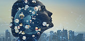 AI (Artificial Intelligence) concept.  Global communication network. Worldwide business.