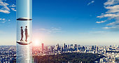 Space elevator concept. Science technology. Prospect of business.