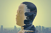 City and human concept. AI (Artificial Intelligence).