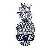 Illustration of pineapple skull in sunglasses. Design element for poster, card, banner. Vector illustration