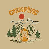 Camping. Vintage illustration of mountain landscape with camping lantern. Design element for poster, card, banner, emblem, sign. Vector illustration