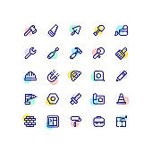 Building Work Tools Outline Icons