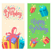 Happy birthday. Set of banner templates. Design element for poster, card, banner. Vector illustration