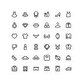 Clothing & Accessories Outline Icons